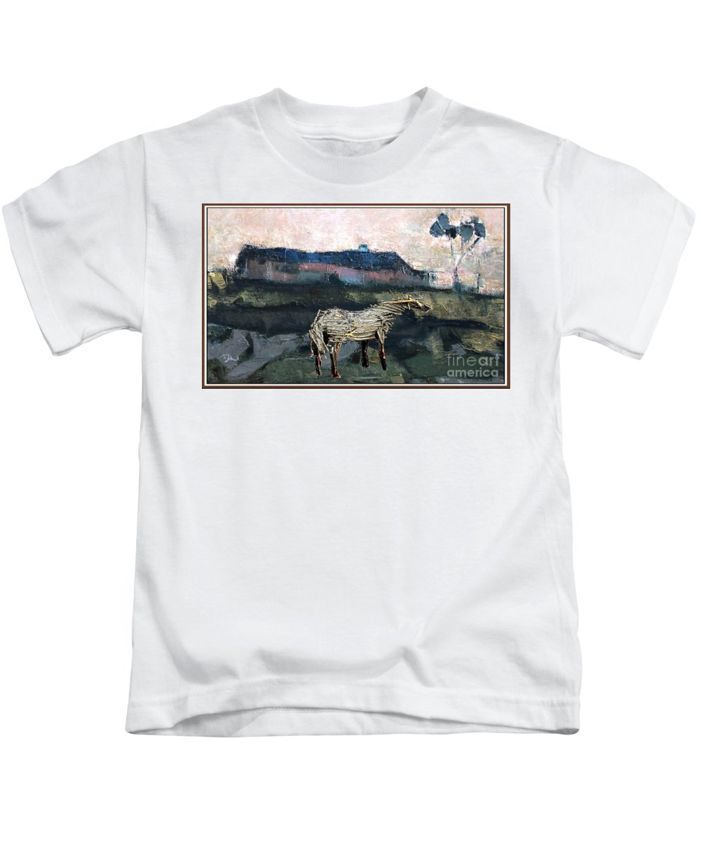 Modern Painting Kids T-Shirt featuring the mixed media A Tough Horse by Pemaro
