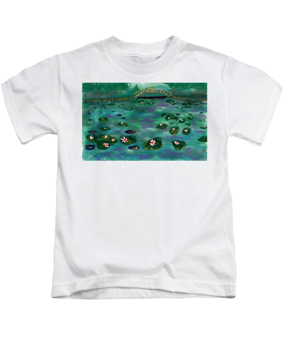 Monet Lilies Color Bridge Water Pond Kids T-Shirt featuring the digital art A Tribute To Lillies by David R Keith