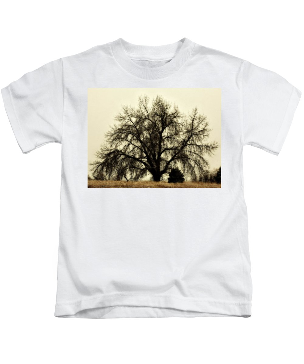 Tree Kids T-Shirt featuring the photograph A Winter's Day by Marilyn Hunt