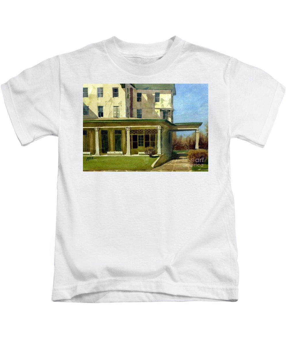 Spring Lake Kids T-Shirt featuring the painting Abandoned Hotel by Donald Maier
