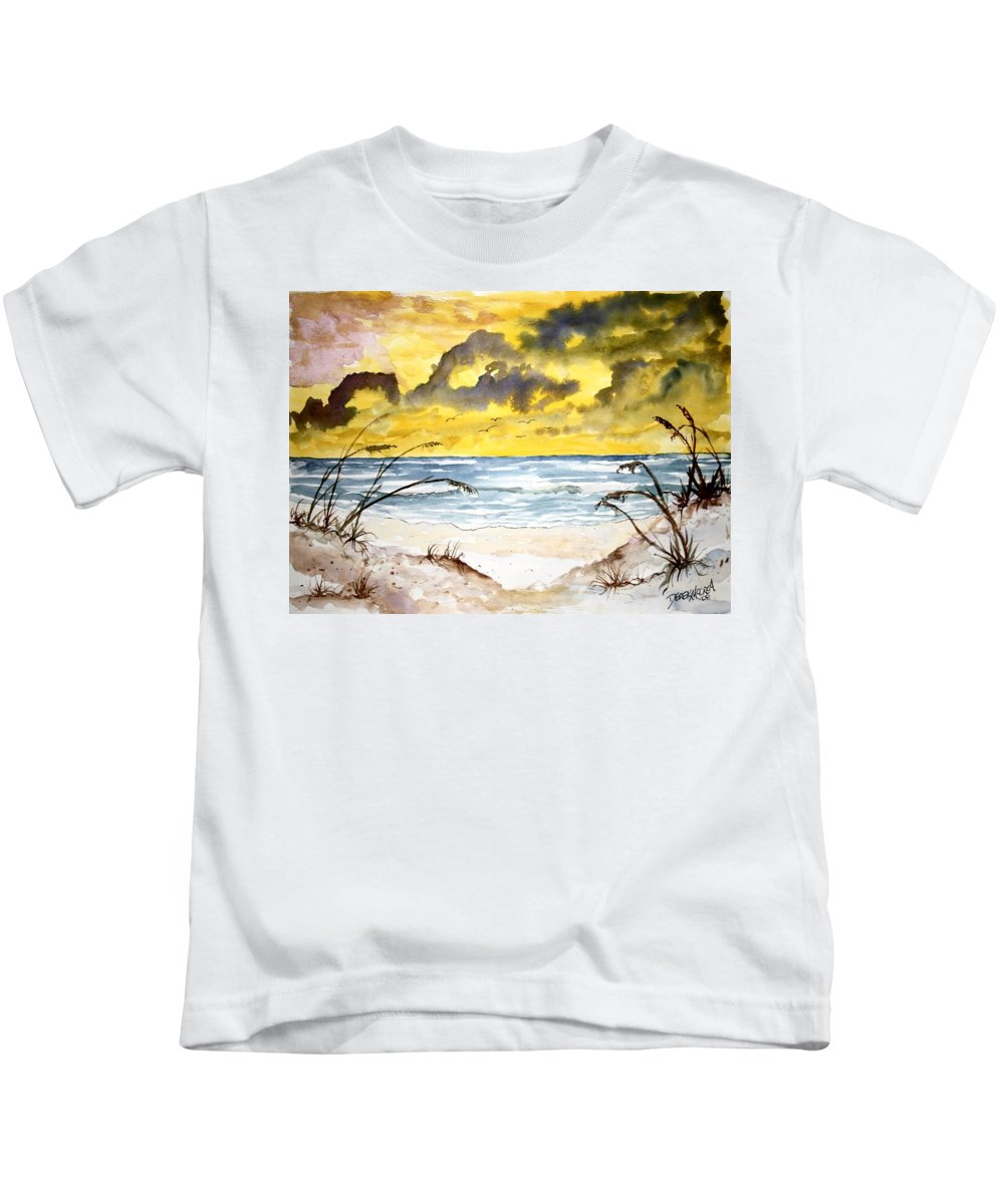Beach Kids T-Shirt featuring the painting Abstract Beach Sand Dunes by Derek Mccrea