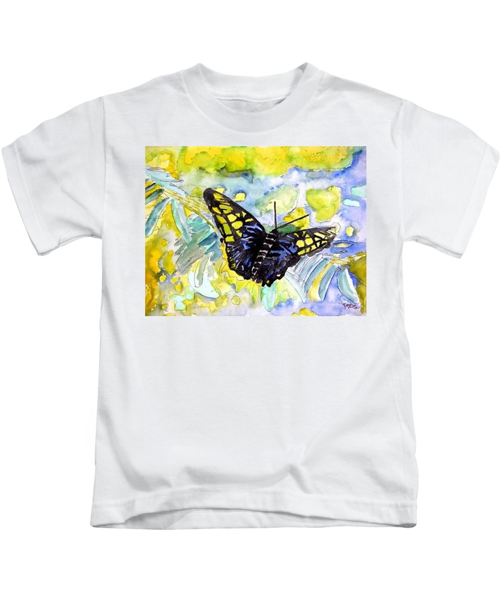 Abstract Kids T-Shirt featuring the painting Abstract Butterfly by Derek Mccrea