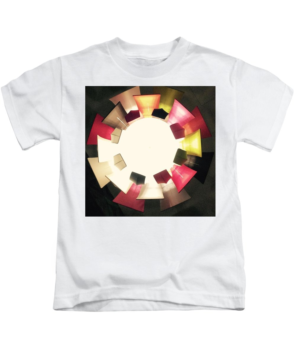 Light Circles Panels Beige Cream Gold Pink Black Colour Convergence Kids T-Shirt featuring the photograph Abstract Circles by In Plain Sight