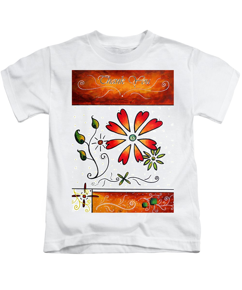 Abstract Kids T-Shirt featuring the painting Abstract Decorative Greeting Card Art Thank You By Madart by Megan Duncanson