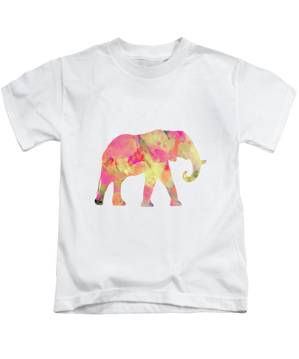 Watercolor Kids T-Shirt featuring the digital art Abstract Elephant by Amir Faysal