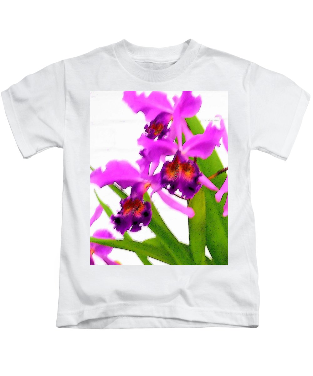 Flowers Kids T-Shirt featuring the digital art Abstract Iris by Anita Burgermeister