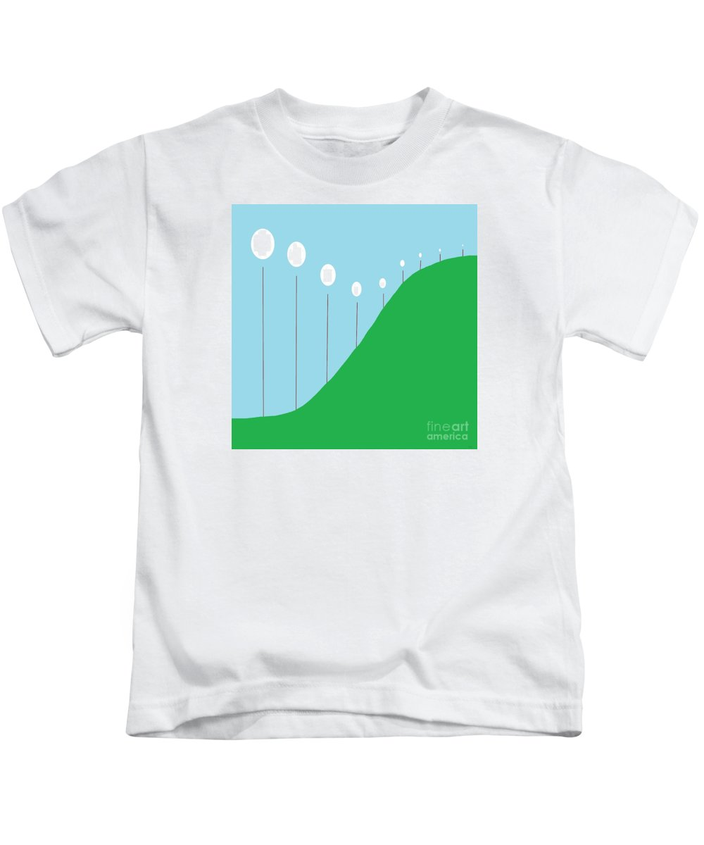 Abstract Kids T-Shirt featuring the painting Abstract Landscape Lights On The Hill by Eloise Schneider Mote