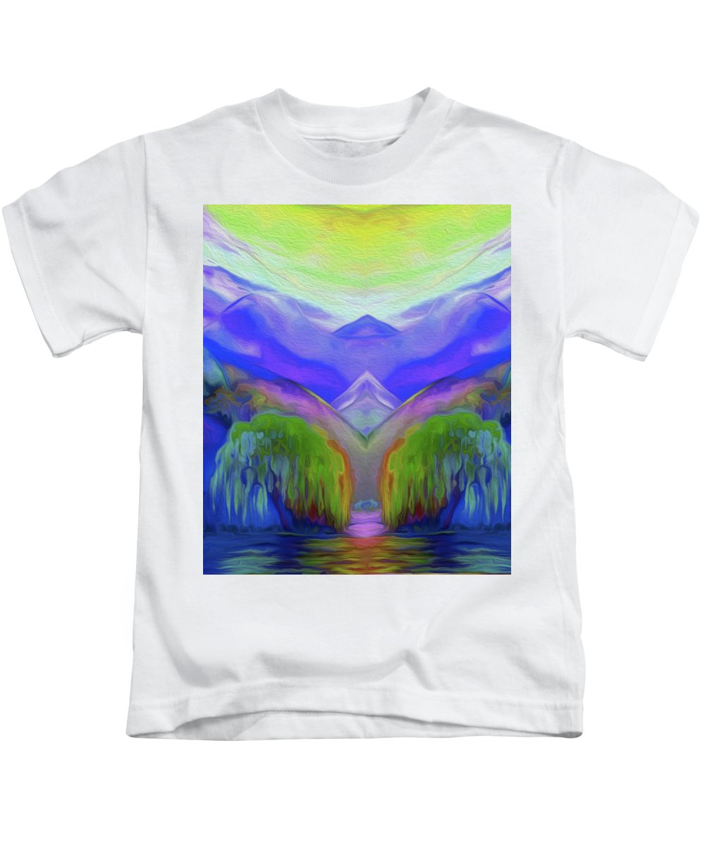 Abstract Kids T-Shirt featuring the painting Abstract Mountains By Nixo by Supreme Inc