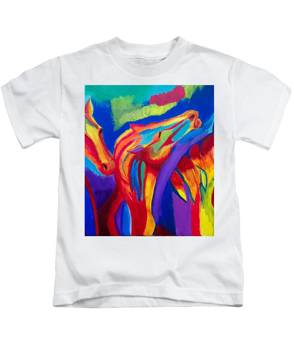Horse Kids T-Shirt featuring the painting Abstract Mustangs by Aditya Anil