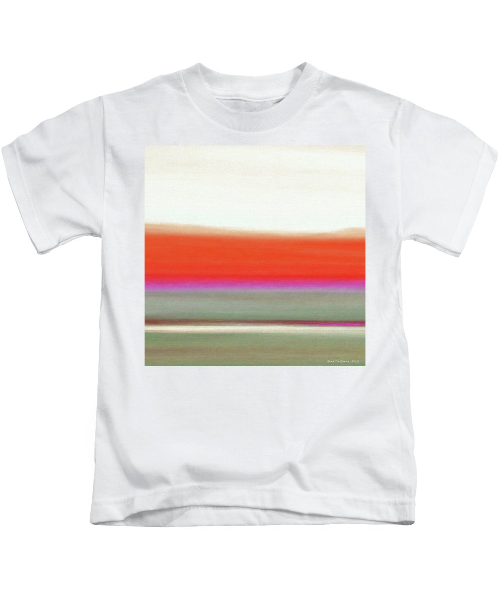Brown Kids T-Shirt featuring the painting Abstract Sunset 63 by Gina De Gorna