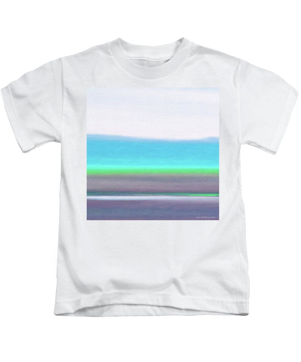 Brown Kids T-Shirt featuring the painting Abstract Sunset 64 by Gina De Gorna