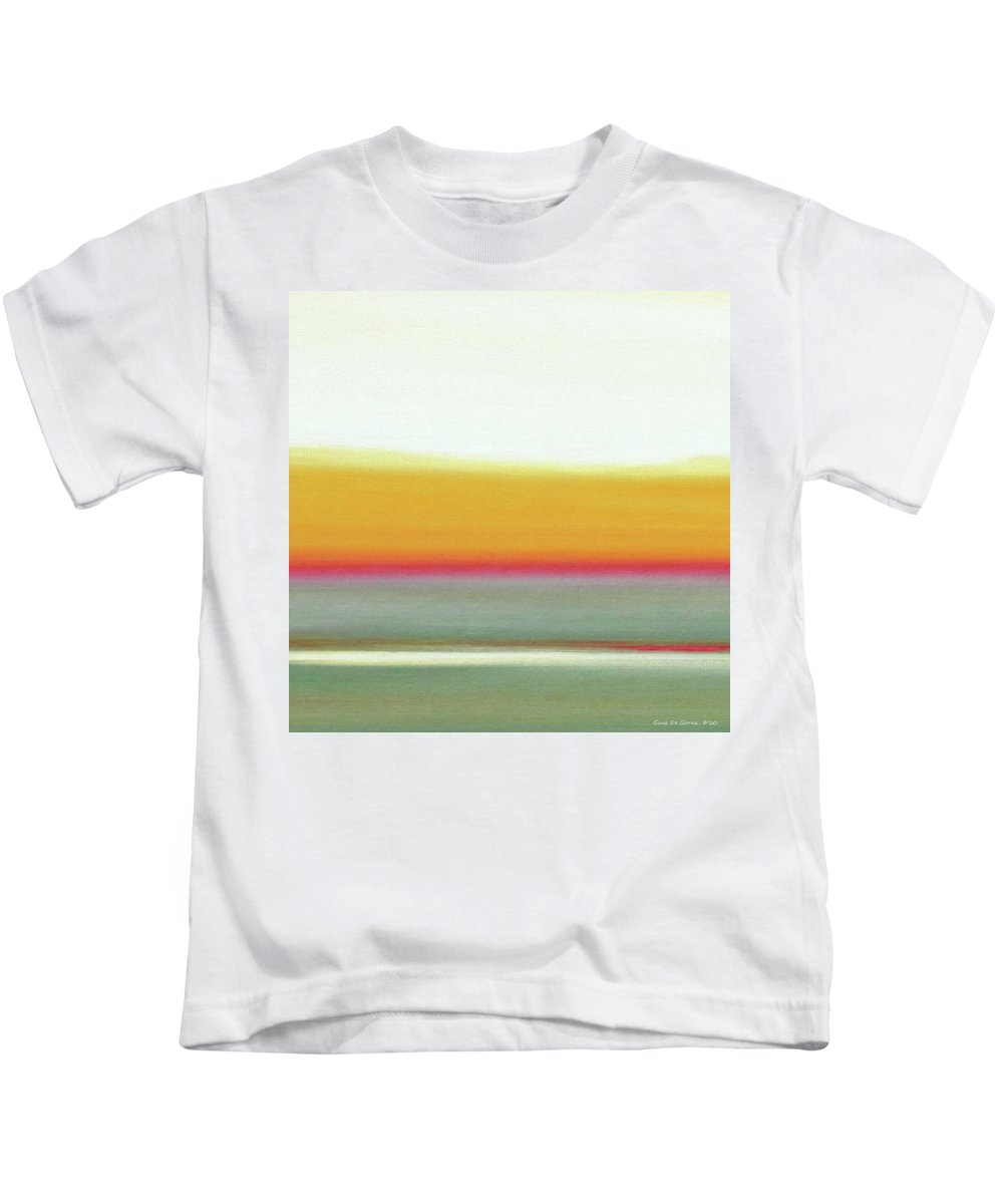 Brown Kids T-Shirt featuring the painting Abstract Sunset 66 by Gina De Gorna