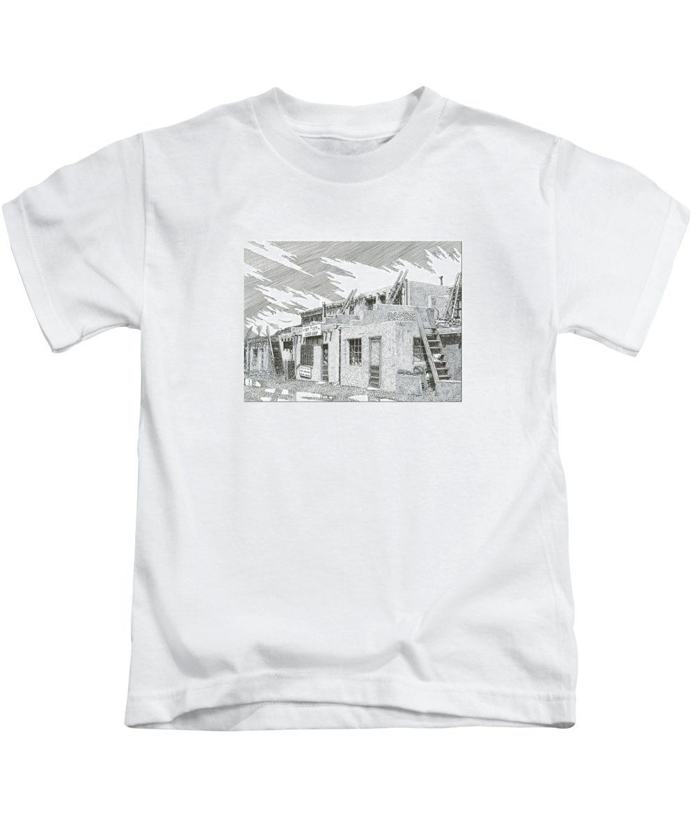 Images Of Acoma Sky City Acoma Kids T-Shirt featuring the drawing Acoma Sky City by Jack Pumphrey