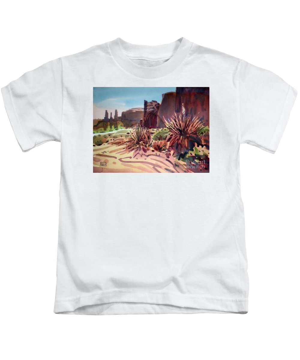 Monument Valley Kids T-Shirt featuring the painting Across Monument Valley by Donald Maier