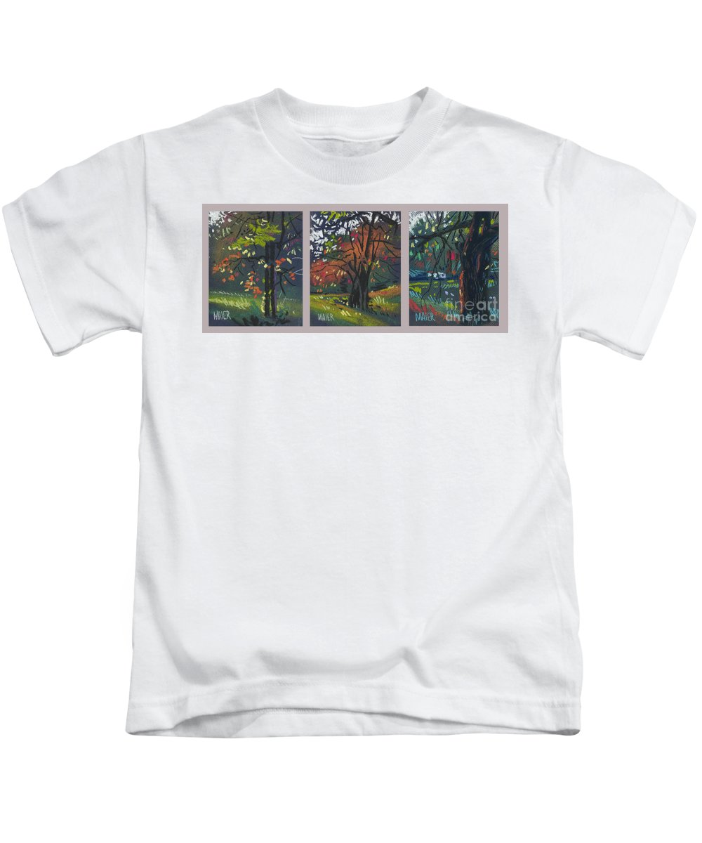 Autumn Foliage Kids T-Shirt featuring the painting Across The Creek Triplet by Donald Maier