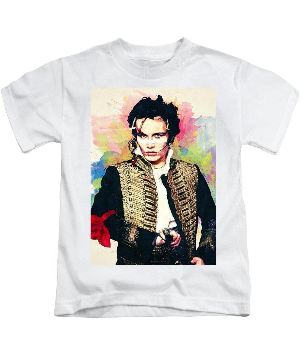 Adam Ant Kids T-Shirt featuring the digital art Adam Ant by Zapista Zapista