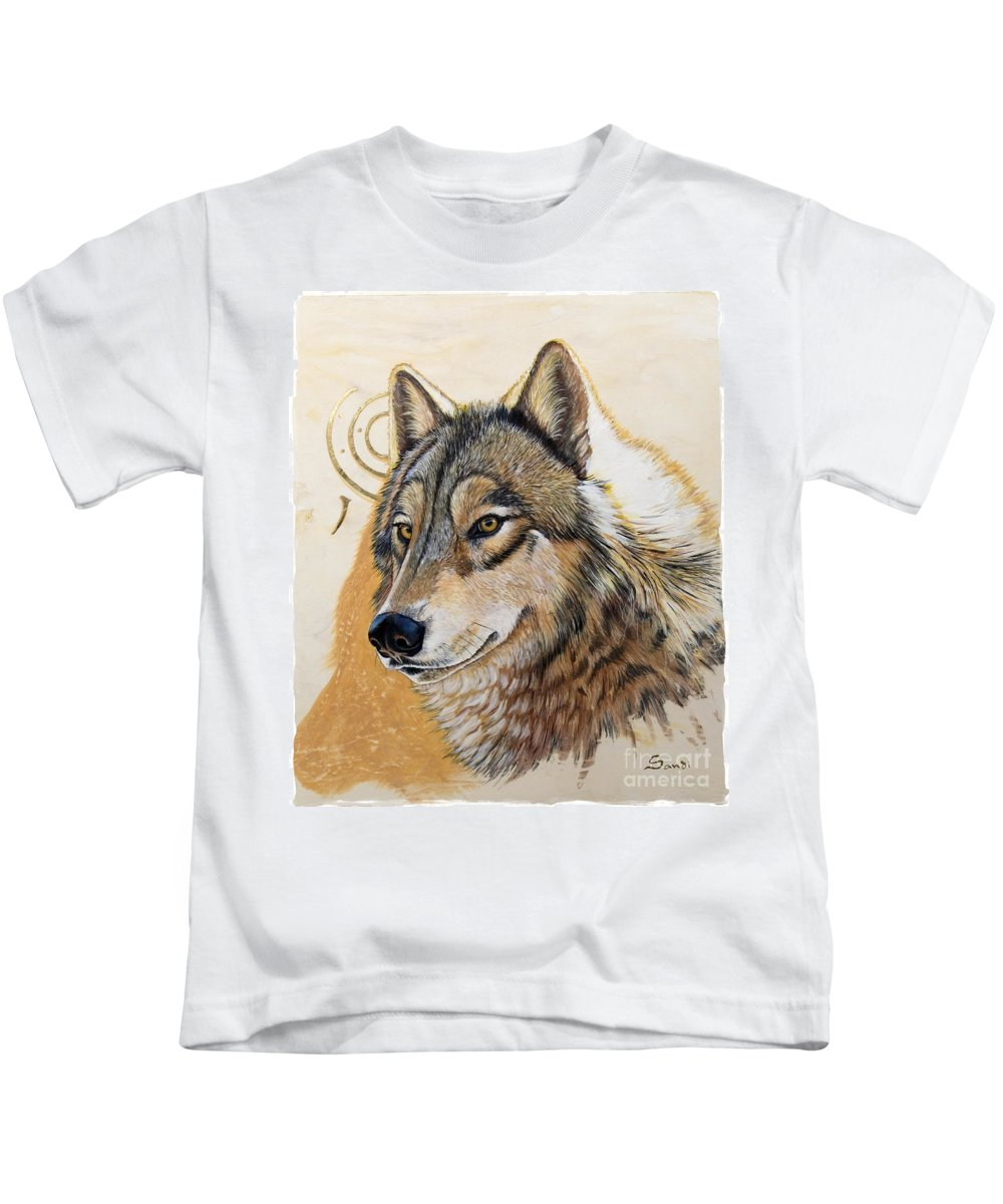 Acrylics Kids T-Shirt featuring the painting Adobe Gold by Sandi Baker
