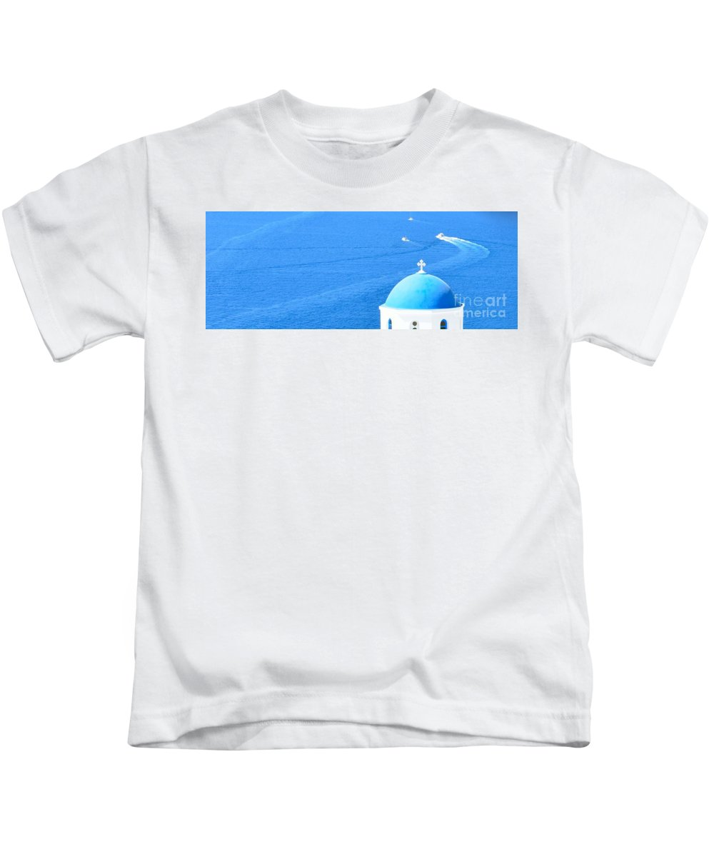 Oia Kids T-Shirt featuring the photograph Aegean Blue by Yinguo Huang