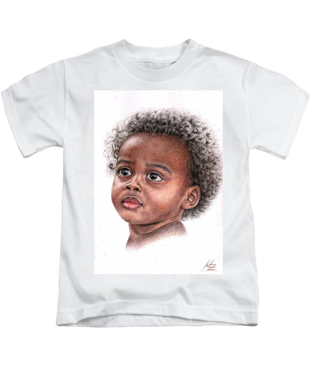 Child Kids T-Shirt featuring the drawing African Child by Nicole Zeug