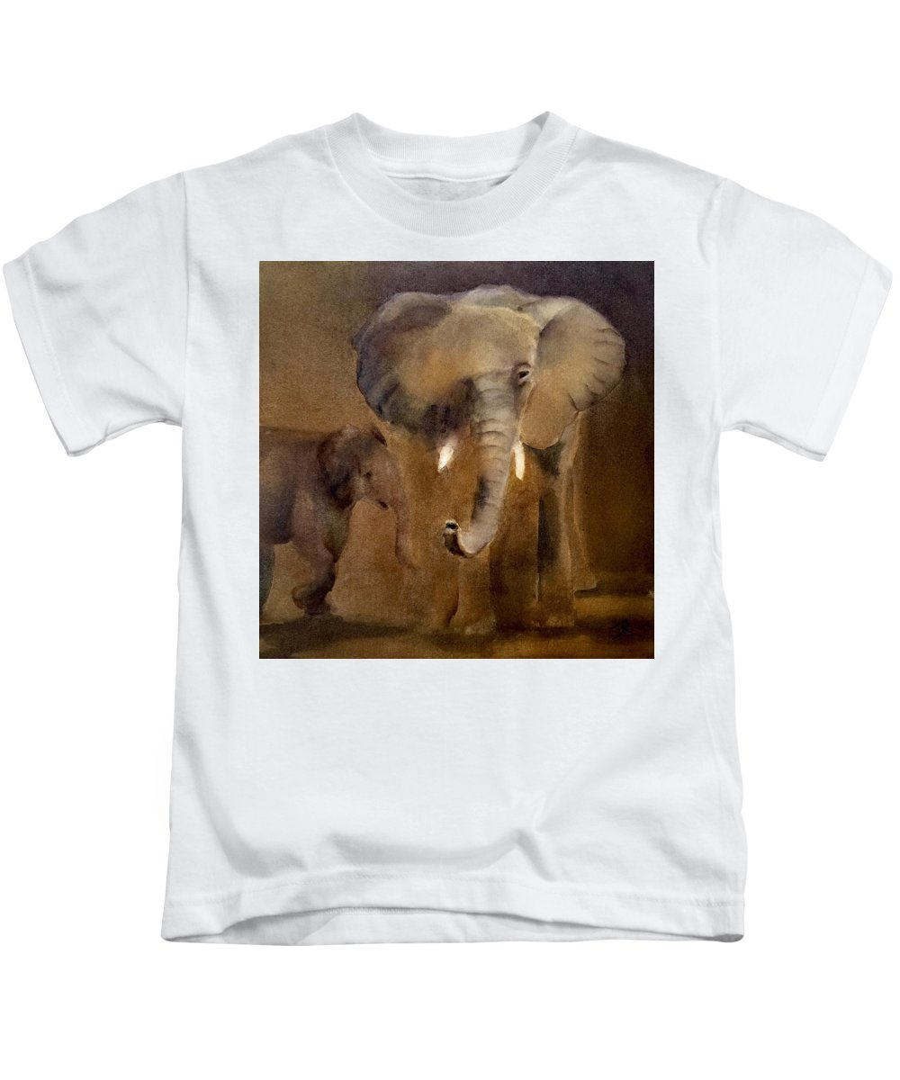Elephant Kids T-Shirt featuring the painting African Elephant by June Rollins