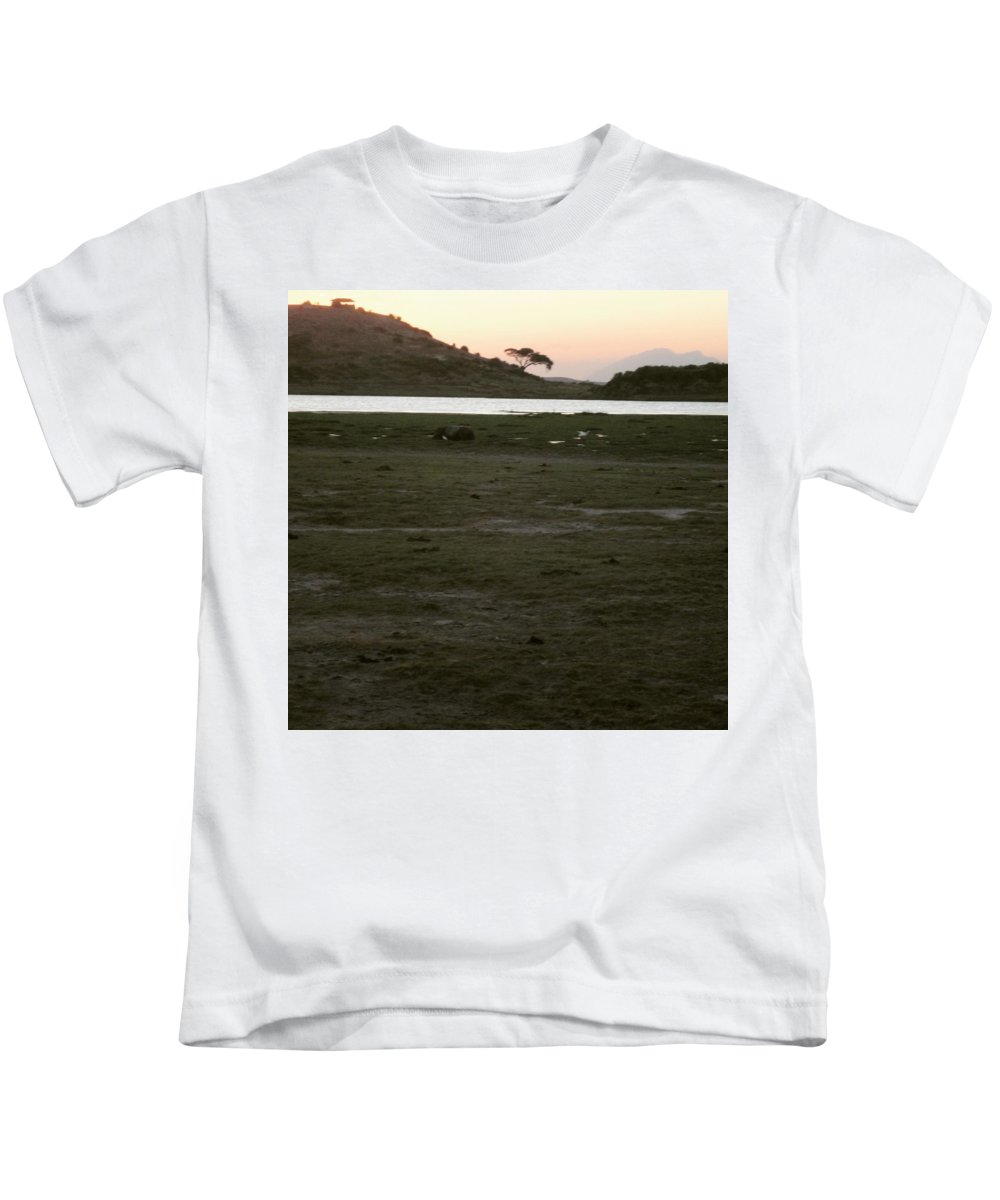 Sunset Kids T-Shirt featuring the photograph African Lake by Serah Mbii