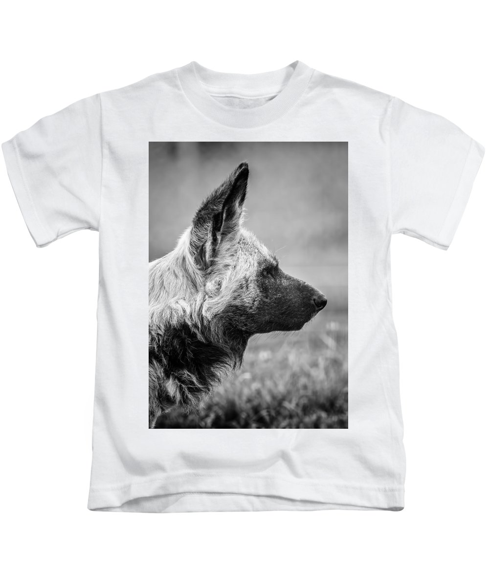 Canine Kids T-Shirt featuring the photograph African Wild Dog by Levana Sietses