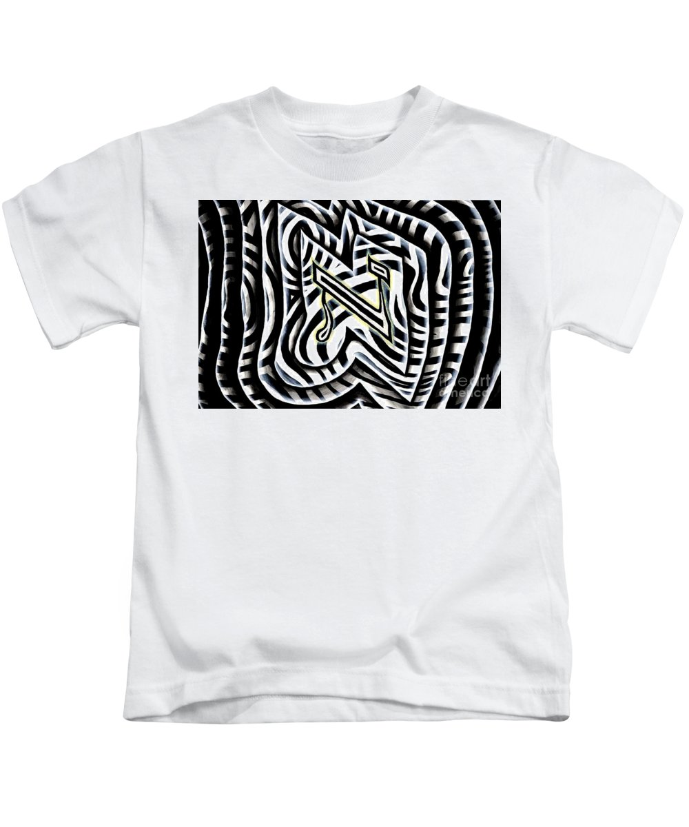 Hebrew Kids T-Shirt featuring the painting Aleph by Luke Galutia