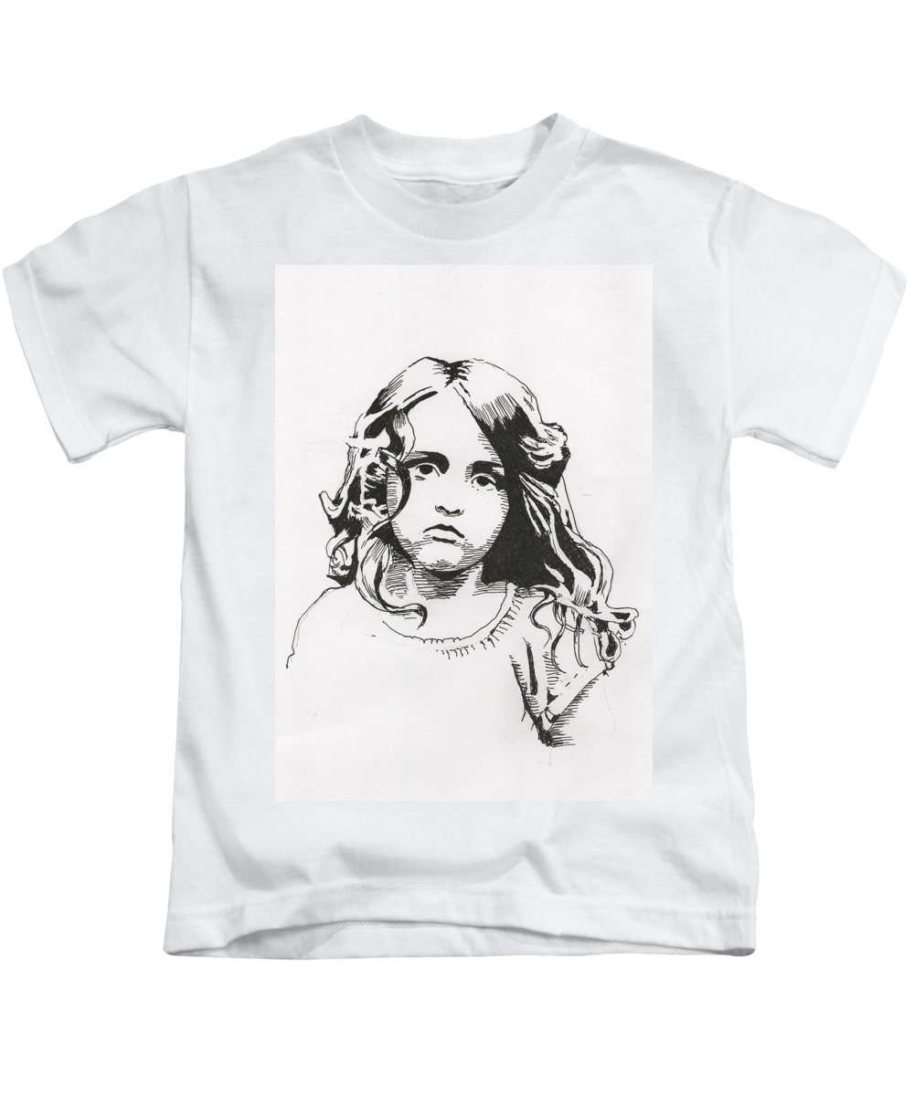 Portrait Kids T-Shirt featuring the drawing Alice by Richard Long
