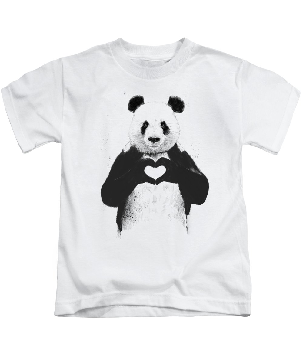 Panda Kids T-Shirt featuring the mixed media All You Need Is Love by Balazs Solti