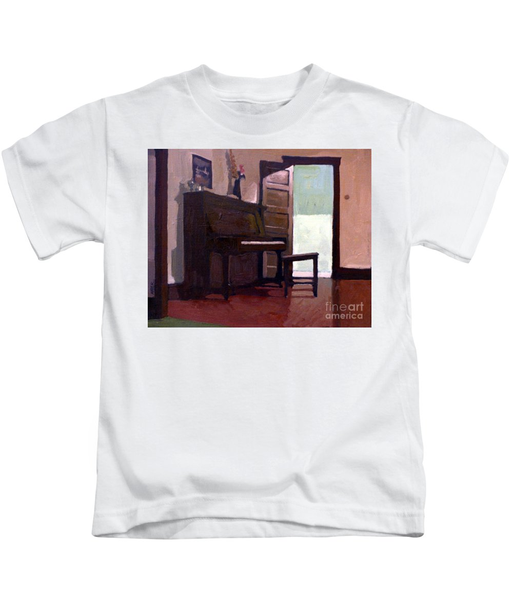 Piano Kids T-Shirt featuring the painting Allison's Piano by Donald Maier