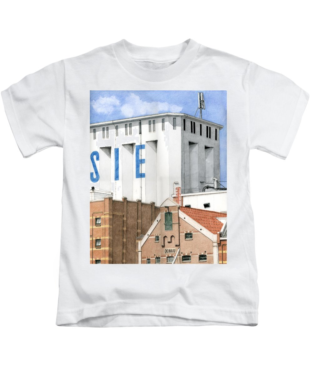 Mixed Media Kids T-Shirt featuring the mixed media Along The River Zaan Lassie Silo by Rob De Vries