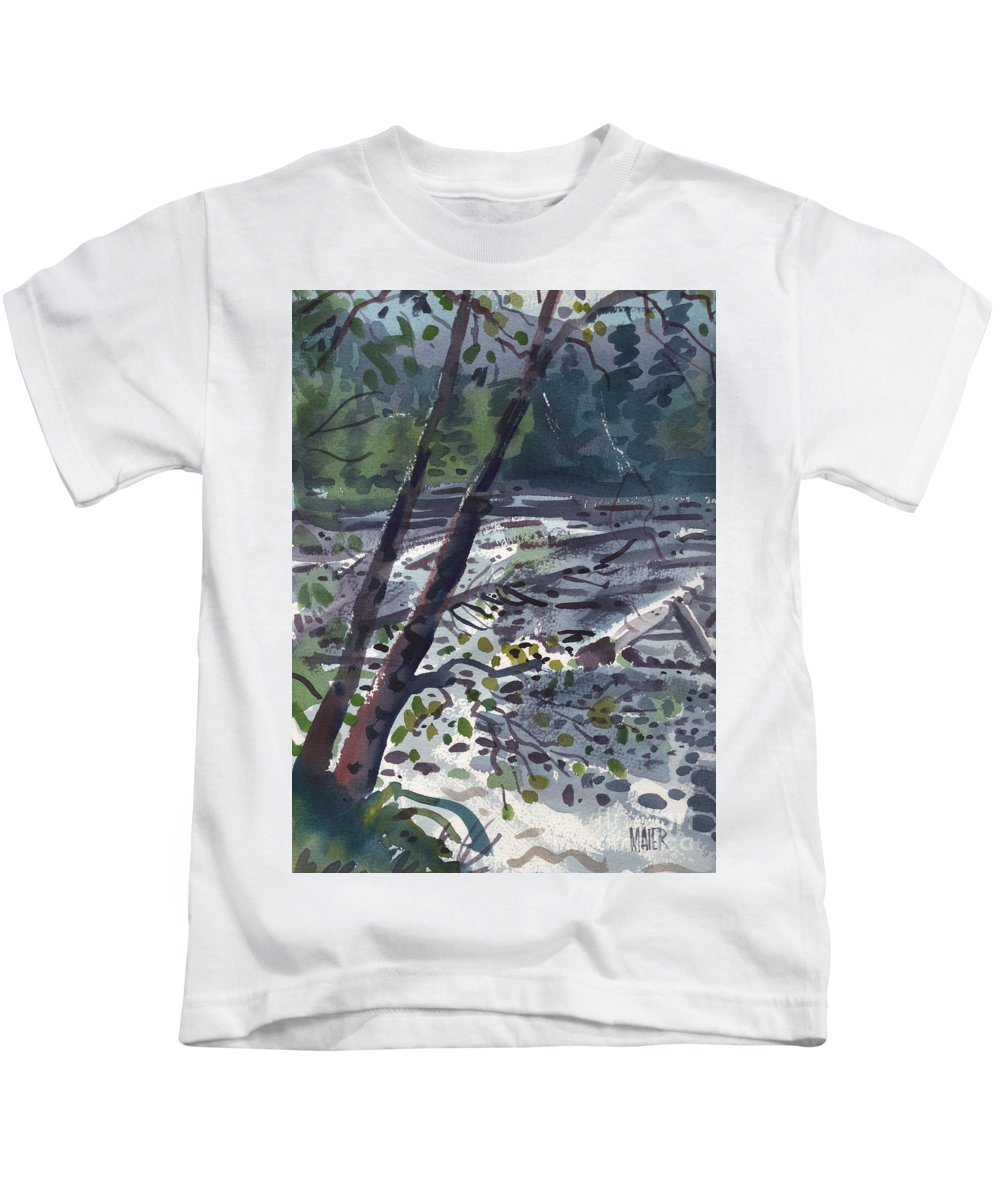 White River Kids T-Shirt featuring the painting Along The White River by Donald Maier
