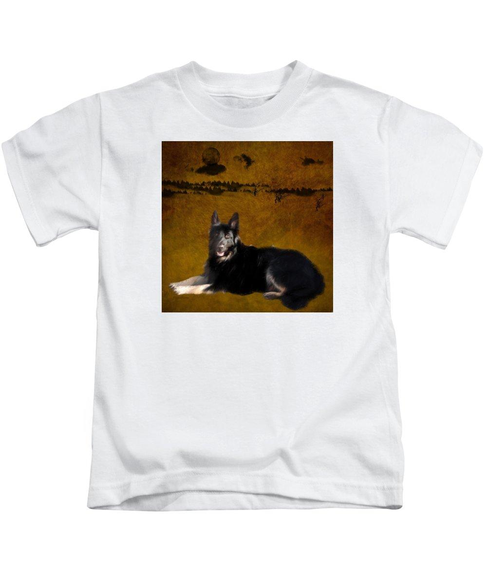 Alsatian Kids T-Shirt featuring the photograph Alsatian German Shepard by Ericamaxine Price