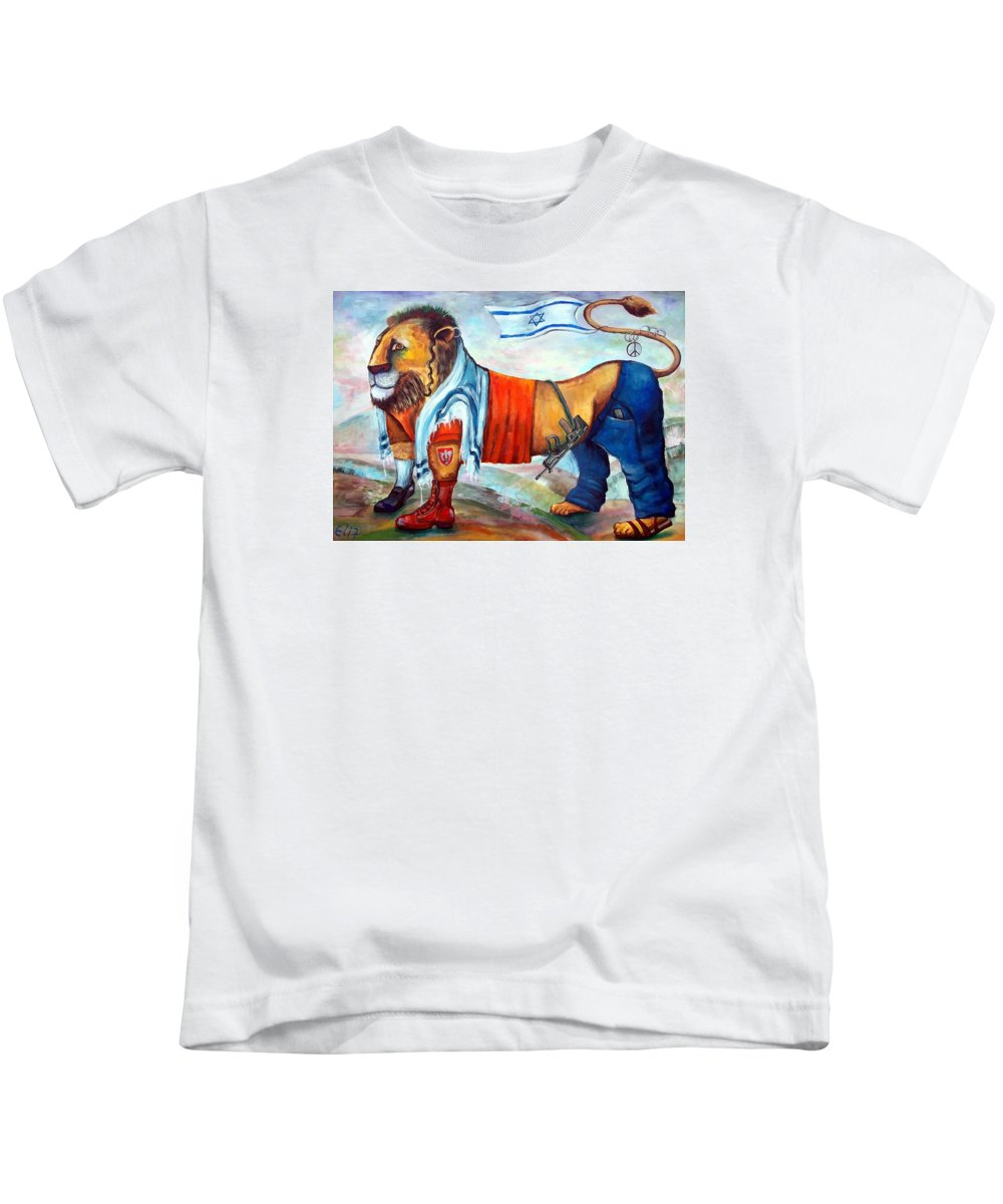 Israelis Kids T-Shirt featuring the painting Am Israel Hay by Elisheva Nesis