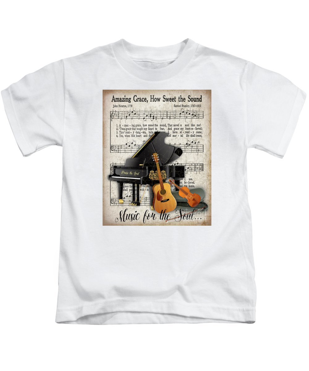 Jean Plout Kids T-Shirt featuring the painting Amazing Grace-jp3513 by Jean Plout