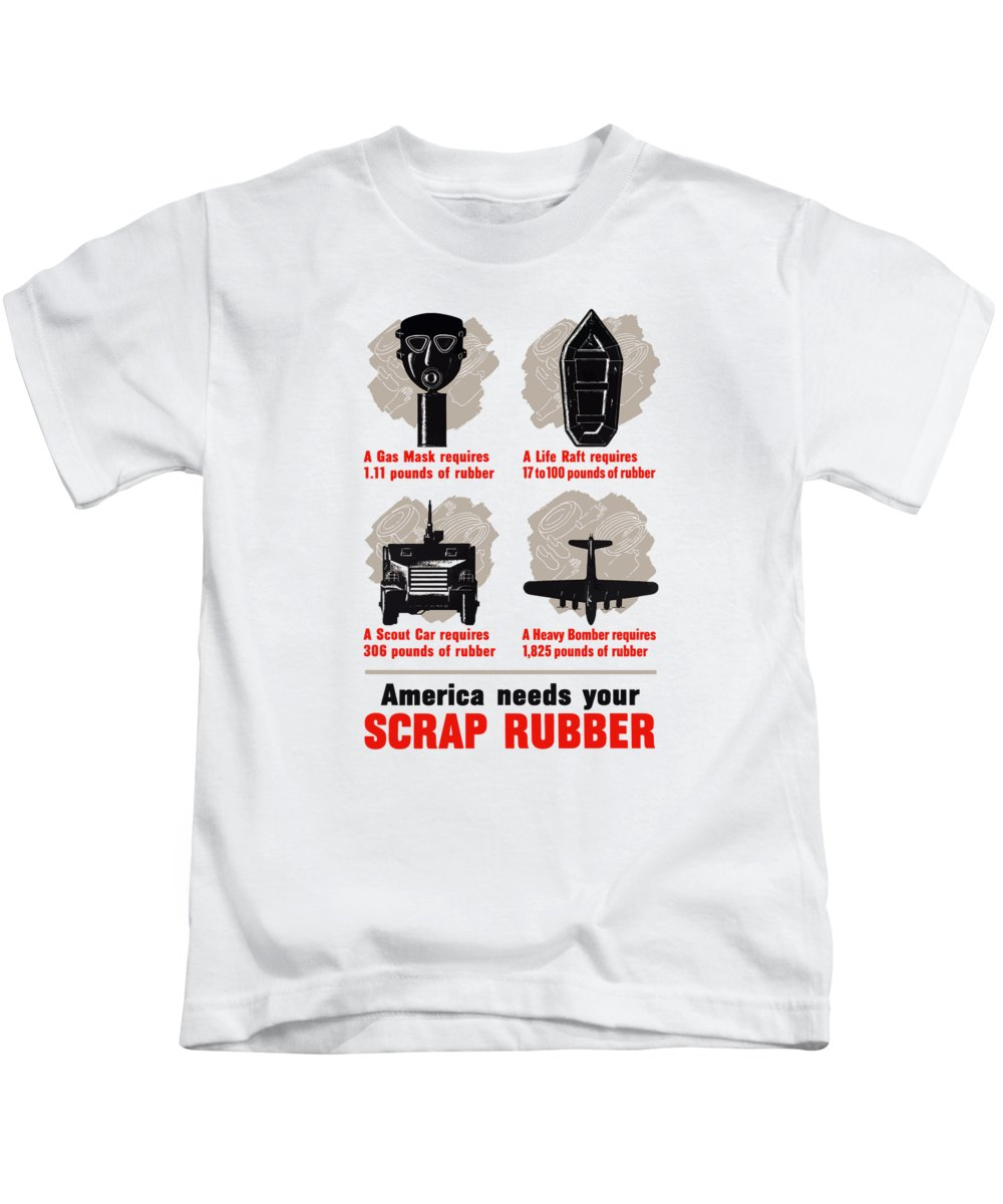 Conservation Kids T-Shirt featuring the painting America Needs Your Scrap Rubber by War Is Hell Store