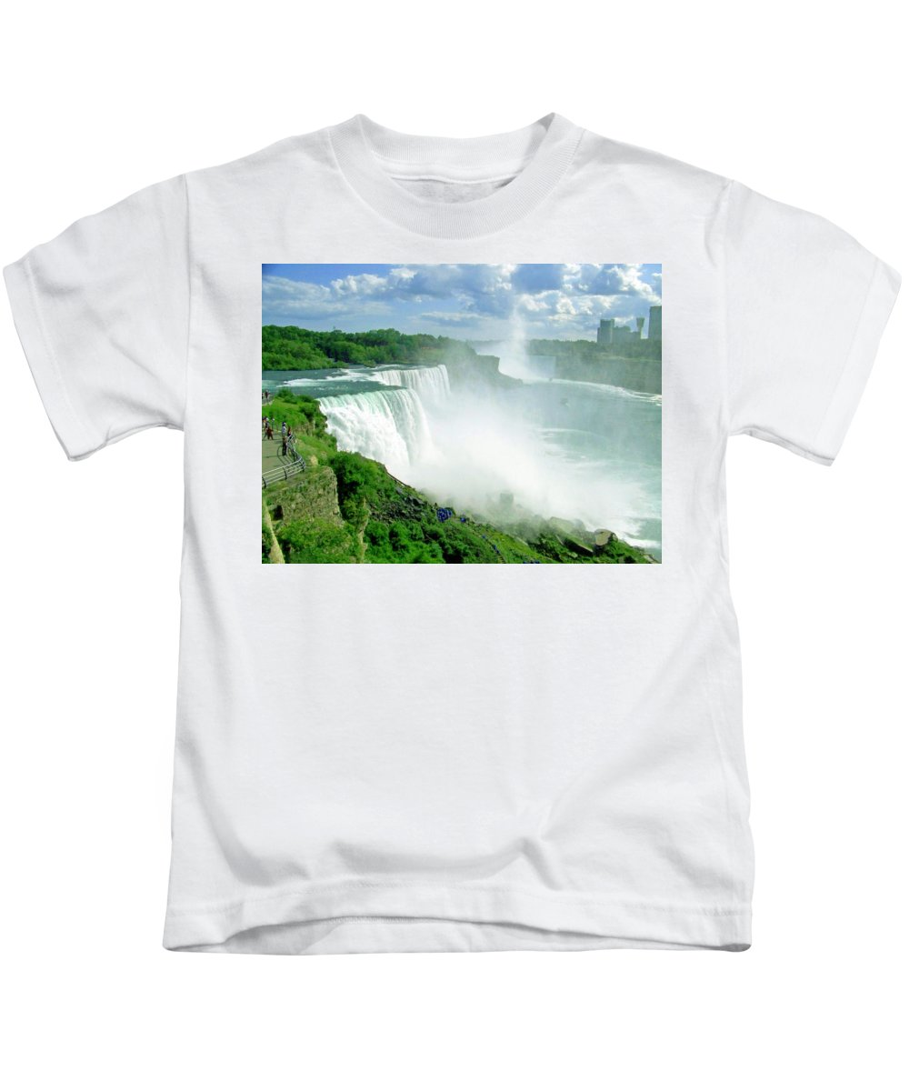 Waterfall Kids T-Shirt featuring the photograph American And Niagra Falls At Niagra by Laurie Paci