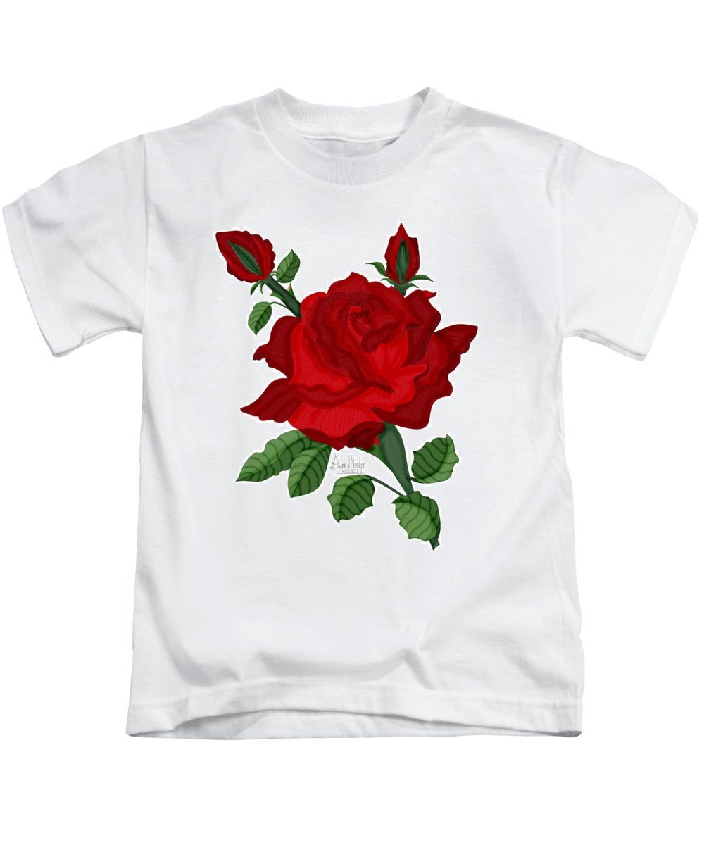 American Beauty Rose Kids T-Shirt featuring the painting American Beauty Rose by Anne Norskog