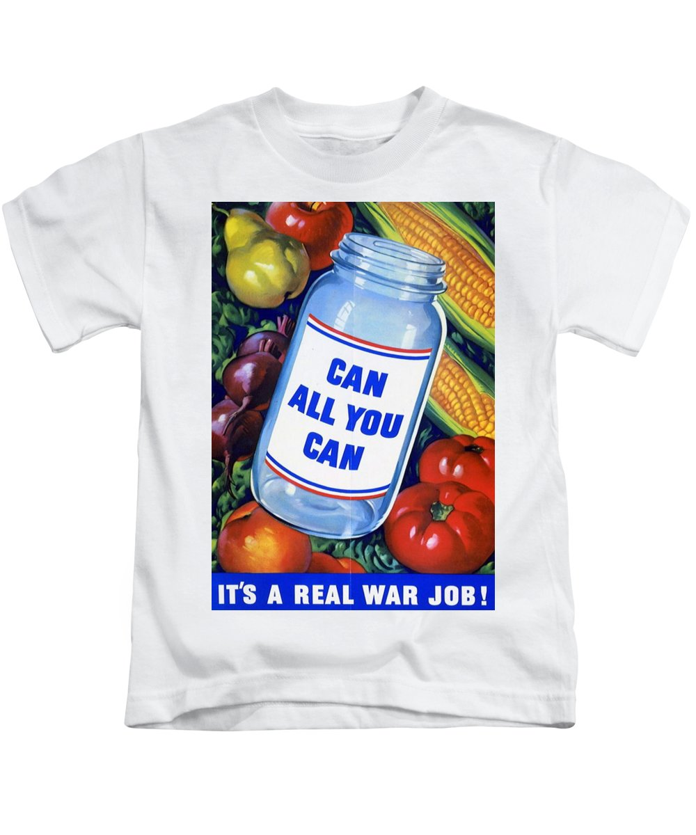 Propaganda Kids T-Shirt featuring the painting American Propaganda Poster Promoting Canned Food by American School