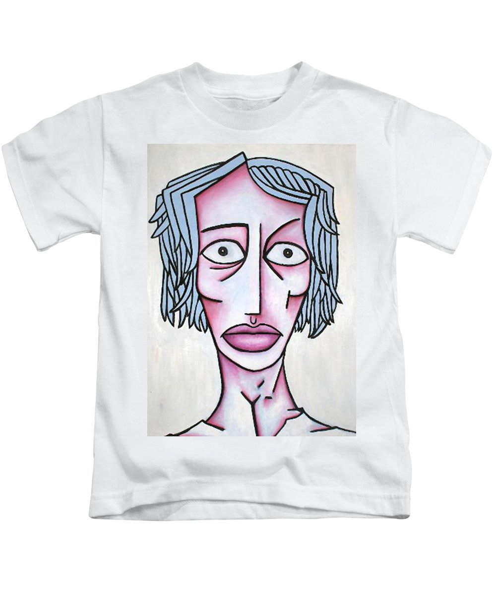 Potrait Kids T-Shirt featuring the painting amy by Thomas Valentine