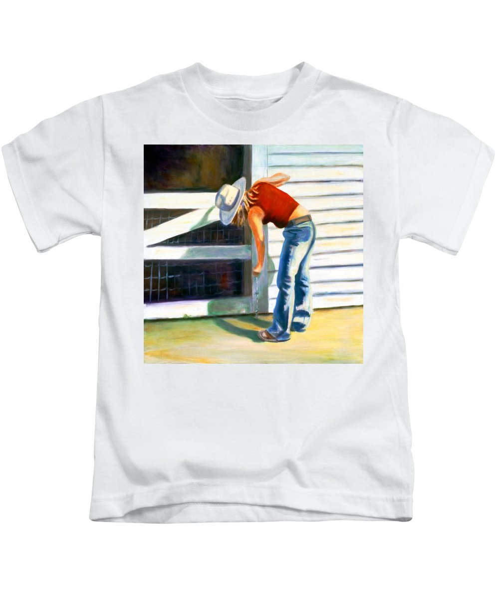 Red Kids T-Shirt featuring the painting An American Girl by Shannon Grissom