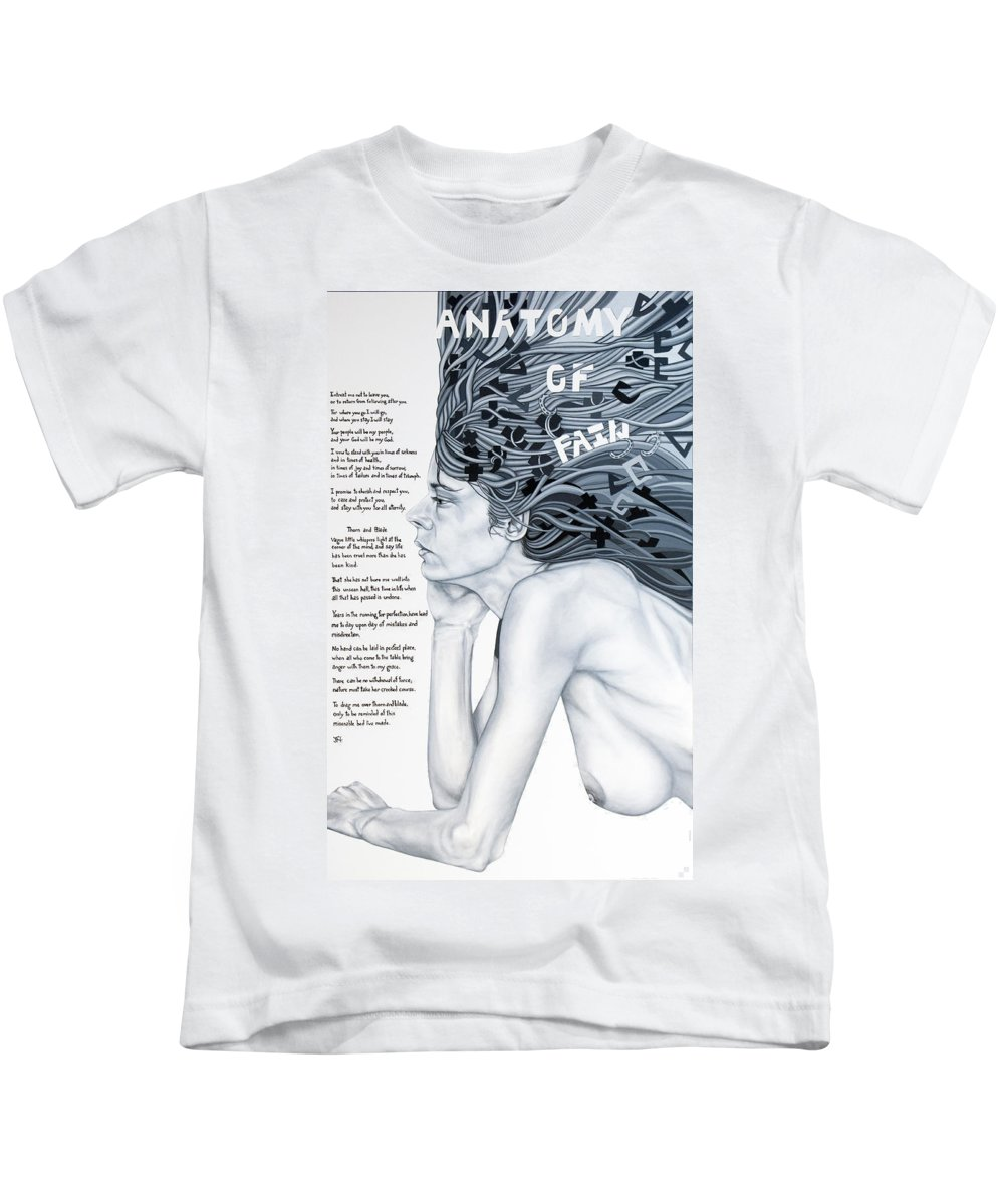 Poetry Kids T-Shirt featuring the painting Anatomy Of Pain by Judy Henninger
