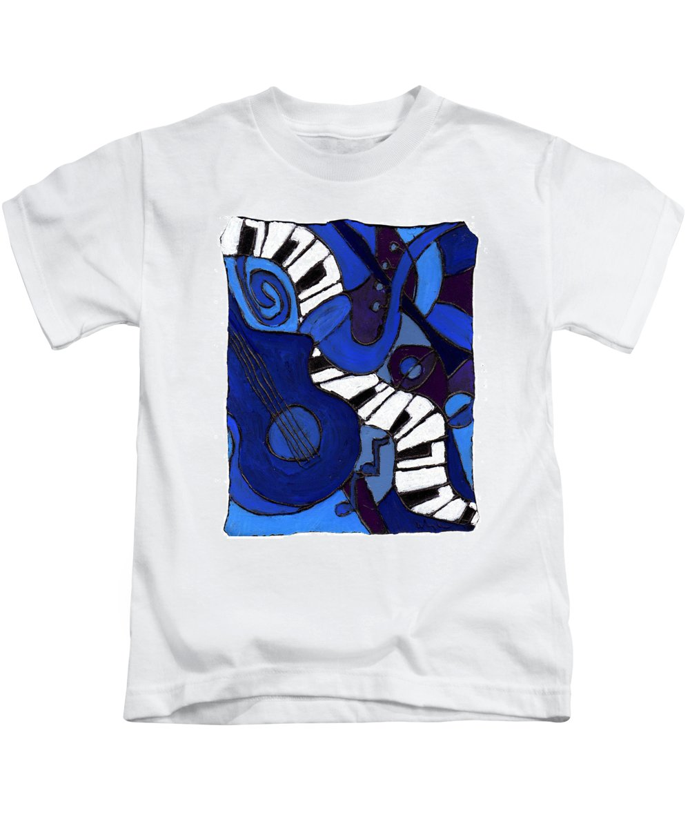 Jazz Kids T-Shirt featuring the painting and All That Jazz two by Wayne Potrafka