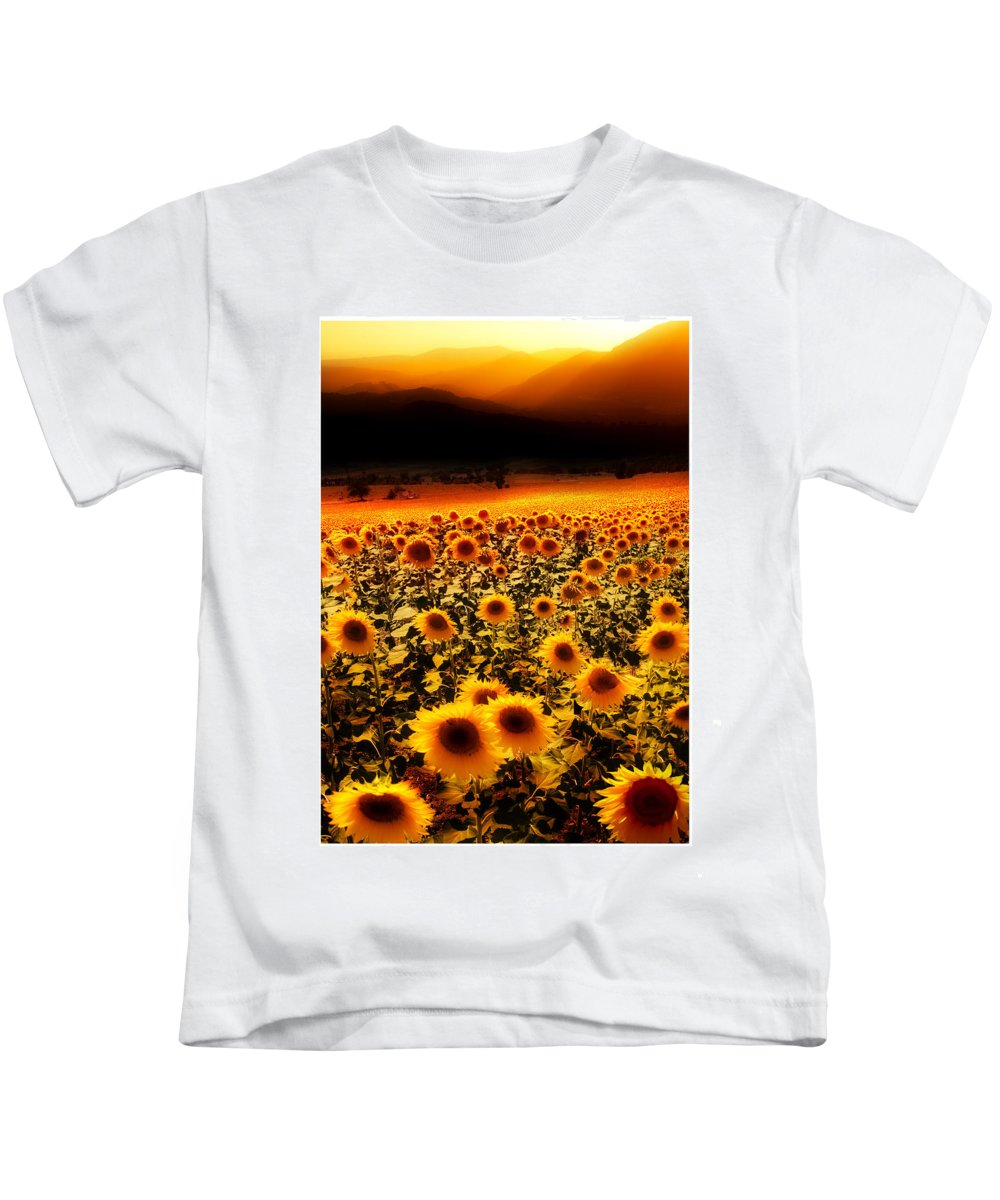 Sunflowers Kids T-Shirt featuring the photograph Andalucian Suns by Mal Bray