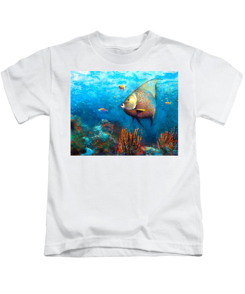Ocean Kids T-Shirt featuring the painting Angel Fish by Andrew King