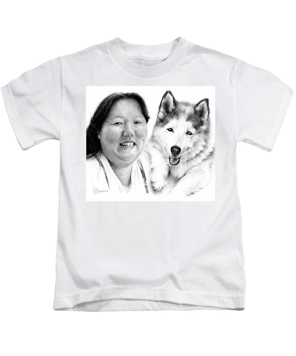 Portrait Kids T-Shirt featuring the drawing Angel On My Shoulder by Rachel Christine Nowicki