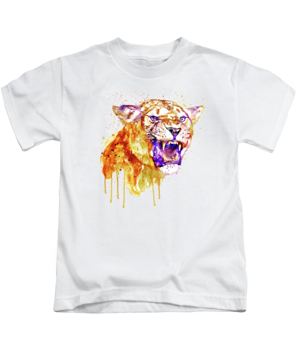Angry Kids T-Shirt featuring the painting Angry Lioness by Marian Voicu