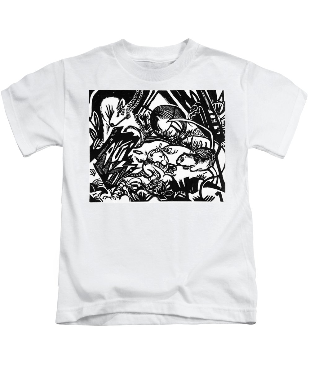 Animal Kids T-Shirt featuring the painting Animal Legend 1912 by Marc Franz