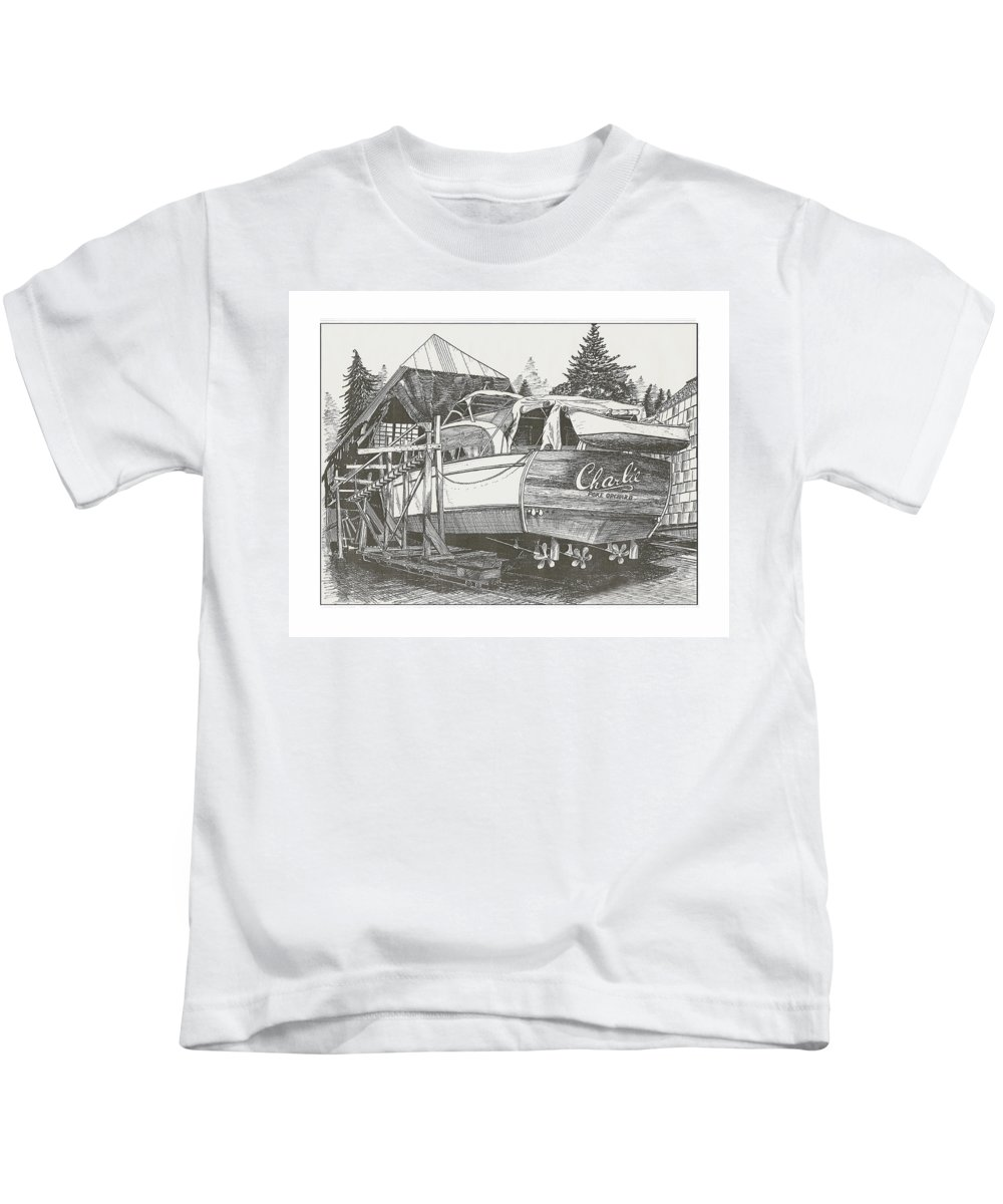 Nautical Yacht Portraits Kids T-Shirt featuring the drawing Annual Haul Out Chris Craft Yacht by Jack Pumphrey