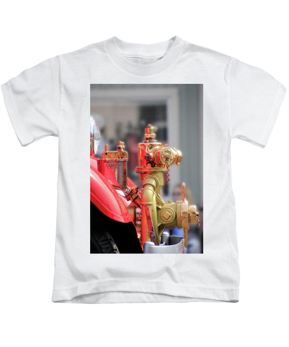 Fire Kids T-Shirt featuring the photograph Antique Fire Truck by Pauline Darrow